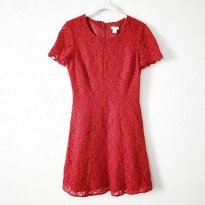 NWT J. Crew Red Floral Lace Dress (sz.2)